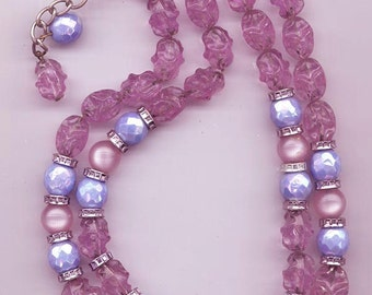 Pretty vintage 2-strand Hobe necklace - glass and lucite beads in periwinkle blue and magenta