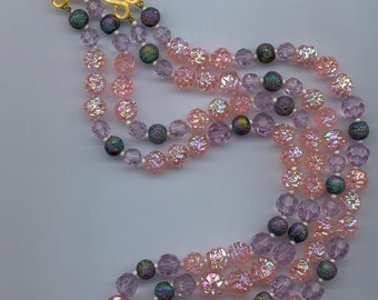 Lovely vintage 2-strand necklace - peach AB glass beads with light amethyst crystals, accented with iris beads