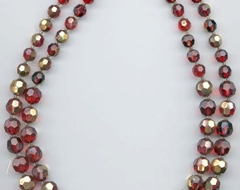 Beautiful 2-strand vintage Marvella necklace - Swarovski red crystals with gold flash