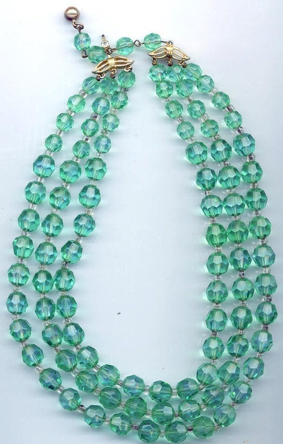 Gorgeous 3-strand Marvella necklace -- awesome light emerald crystals