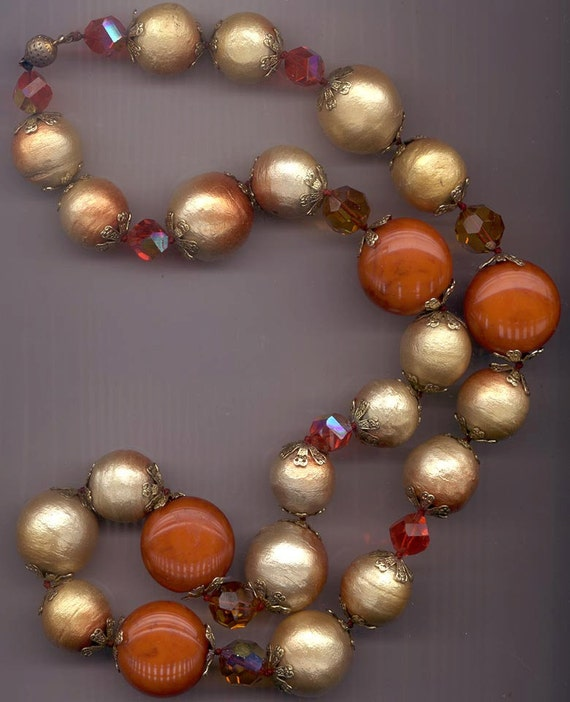 Magnificent vintage long chunky necklace - white gold spun contton beads with burnt orange blush, burnt orange lucite