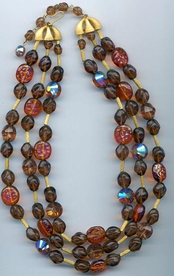 Fabulous 3-strand Trifari necklace - dark amber, colorado topaz glass beads and rare vintage Swarovski colorado topaz AB crystals