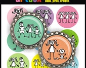Stick Kids Bottle Cap Images - 2 Full 4X6 Digital Collage Sheets - 30 Graphic Images for Pendants, Hair Bows, Magnets, Badge Reels