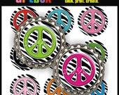 Zebra Peace Signs Bottle Cap Images - 4x6 Digital JPEG BottleCap Collage Sheet - 1 Inch Circles for Badge Reels, Pendants, Hair Bows