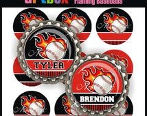 Editable Flaming Baseballs Bottle Cap Images - 4x6 Digital JPEG File Collage Sheet - BottleCap One Inch Circles for Pendants, Hair Bows