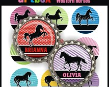 Editable Western Horses Bottle Cap Images - 4x6 Digital JPEG File Collage Sheet - BottleCap One Inch Circles for Pendants, Hair Bows