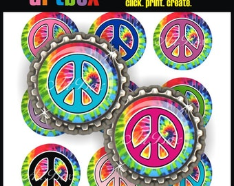 Groovy Peace Signs Bottle Cap Images - 4X6 Digital Collage Sheet - BottleCap 1 Inch Circles for Pendants, Hair Bows Badge Reels