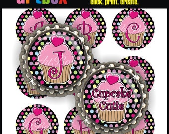 Cupcake Cutie Alphabet Bottle Cap Images - (2) 4x6 Digital JPEG BottleCap Collage Sheets - 1 Inch Circles