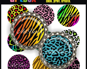 Funky Animal Prints Bottle Cap Images - 3 Digital Collage Sheets - BottleCap One Inch Circles for Pendants, Badge Reels, Hair Bows, Magnets