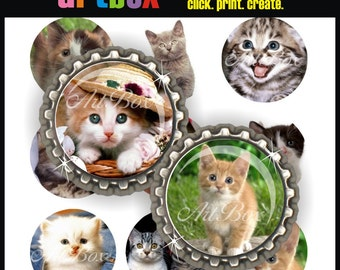 Cute Kittens Bottle Cap Images - 4x6 Digital JPEG BottleCap Collage Sheet - 1 Inch Circles for Pendants, Hair Bows, Badge Reels, Magnets