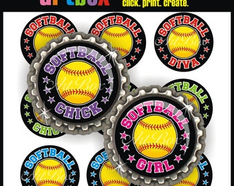 Softball Girl Bottle Cap Images - 4x6 Digital JPEG BottleCap Collage Sheet - 1 Inch Circles for Pendants, Hair Bows, Magnets, Badge Reels