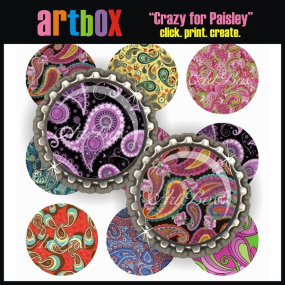 Crazy for Paisley Bottle Cap Images - 4x6 Digital JPEG BottleCap Collage Sheet - 1 Inch Circles for Pendants, Badge Reels, Hair Bows