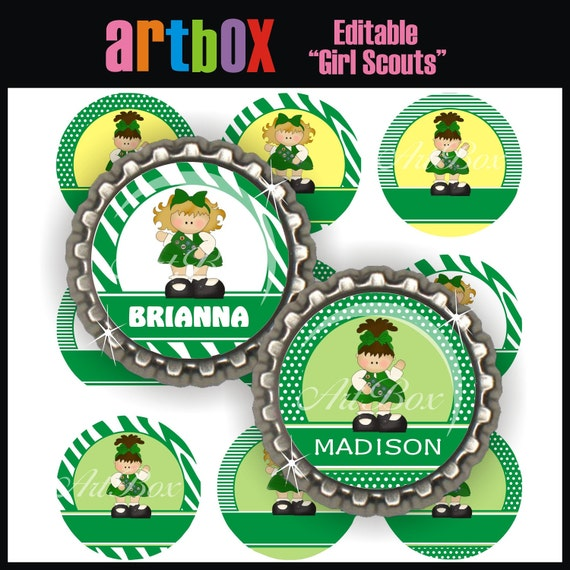Editable Girl Scouts Bottle Cap Images - 4x6 Digital JPEG File Collage Sheet - BottleCap One Inch Circles for Pendants, Hair Bows, Magnets