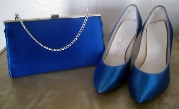 Vintage 1980s Satin Pumps in Electric Blue & Matching Evening Bag - Size 8