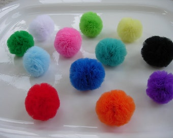 Mini Tulle Pom Cat Toy Balls- Set of 3, YOU CHOOSE the colors