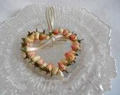 Peaches & Cream Rosebud Heart Hanging Home Decoration