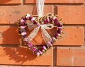 Heart of Rosebuds in Red & Pink with Twig base - Rustic Home hanging decoration