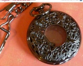 ON SALE Morticias Muse Black Plated Pocket Watch Case with FOB
