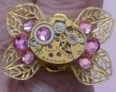 RESERVED Steampunk Ring Pink Butterfly Gold Sandoz Vintage Watch Movement RESERVED for EMPRESSBAT