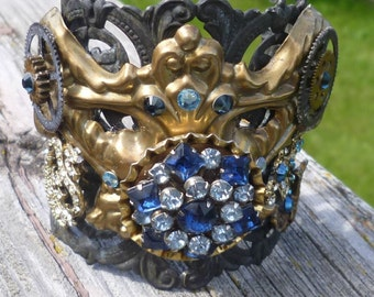 Black Filigree Cuff Gears Vintage Rhinestones Vintage Brass Drawer Pull