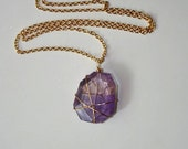 Smooth Asymmetrical Amethyst Stone and Gold Necklace