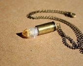 Bullet Casing Necklace with Raw Citrine Crystal