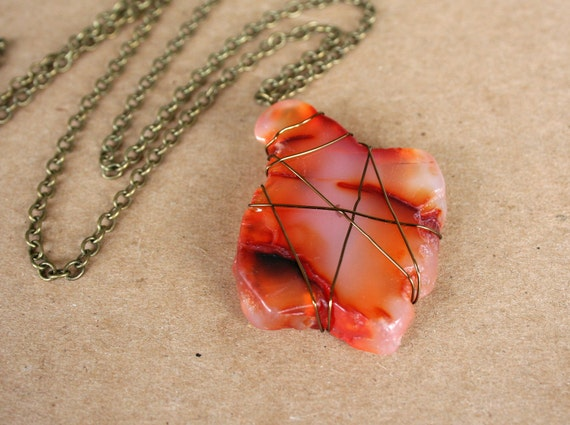 SALE Natural Agate Necklace, Rust, Bronze, Earthy