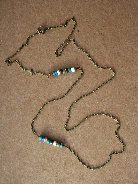 Long Layered Natural Antique Brass Necklace