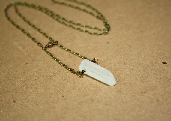 Raw Crystal Point and Antique Brass Necklace