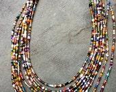 Rainbow seed bead bib necklace
