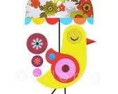 Yellow Bird with Flower Umbrella Print of Paper Cut