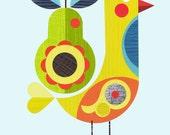 C4r, yellow bird with pear print