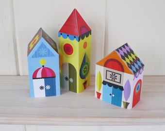 3 little houses, paper craft kit