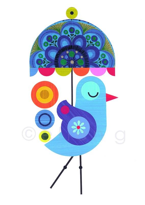 Blue bird with Umbrella Print of Paper Cut