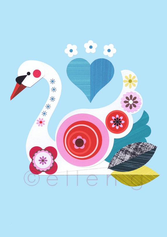 White Swan, blue water, pinks and reds, print
