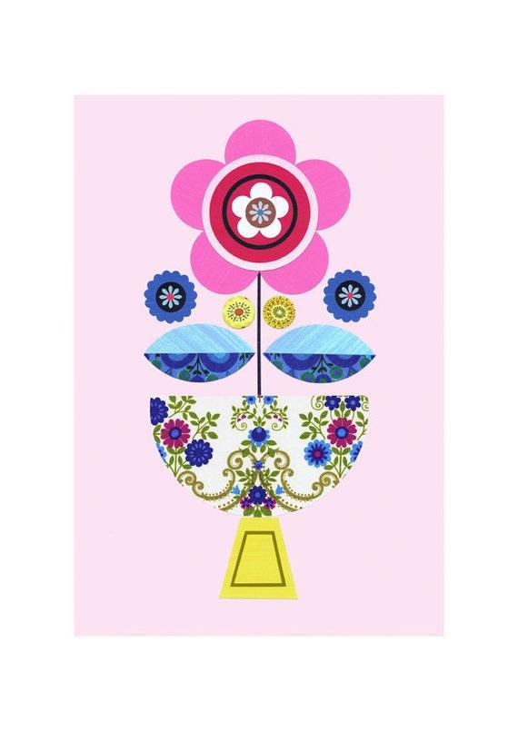 Pink, vintage flower, fabric, Bloom Print