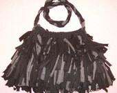 Boho Shag Bag Black and Gray small