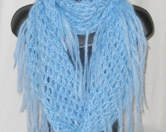 Infinity loop scarf cowl wrap crochet soft kid mohair light blue