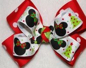 Boutique Hair Bow - Mickey and Minnie Christmas Holiday
