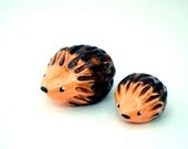 Hedgehog Pair, Mama and Baby, Miniature Clay Sculpture, OOAK