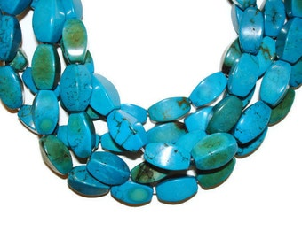Teal Magnesite - Four Sided Barrel - 16mm x 8mm - Full Strand - 25 beads