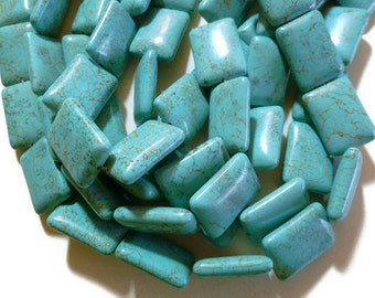 Turquoise Magnesite - Puffed Rectangle - 25mm x 18mm - 15 beads - Full Strand