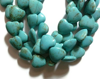 Turquoise Magnesite - Puffed Heart - 20mm x 20mm - Full Strand - 22 beads