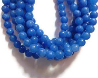 Blue Jade - 8mm Round Bead - 49 beads - Full Strand