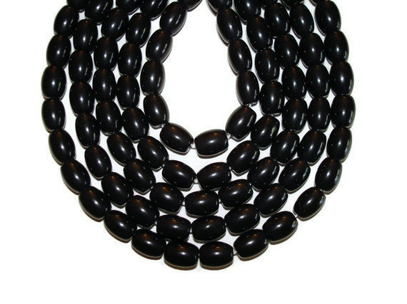 Black Obsidian - Barrel - 46 Beads - Full Strand