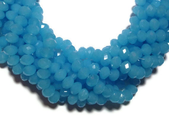 Aqua Faceted Glass - Abacus or Rondelle - over 70 Beads - Full Strand