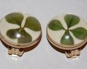 Sale-Vintage 1950s Coro Real 4 Leaf Clover Earrings