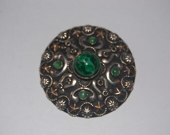 Vintage Peking Glass & Silver Ornate Brooch w Gold Stars