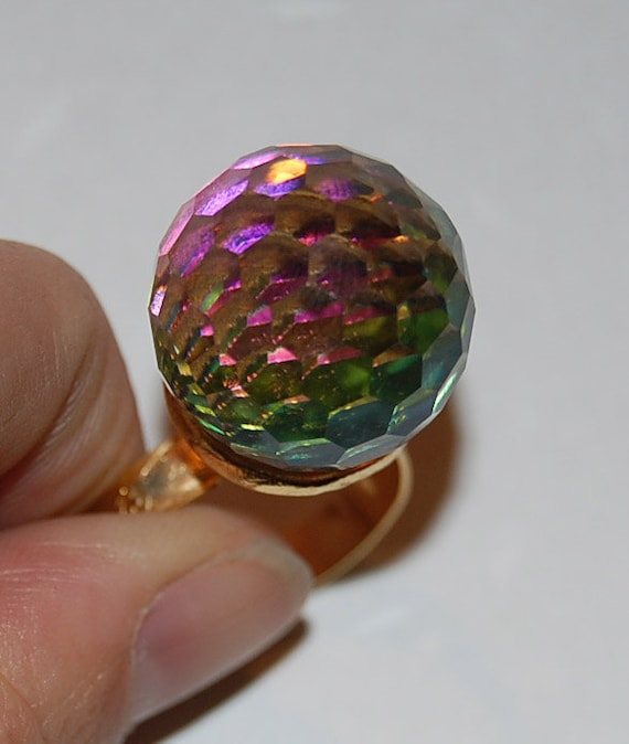Ginormous 60's Rainbow Crystal Cocktail Statement Ring