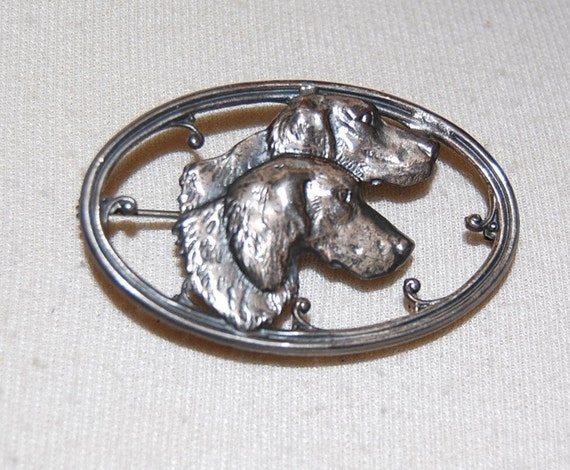 Adorable Sterling Silver Art Deco Brooch with 2 Dogs